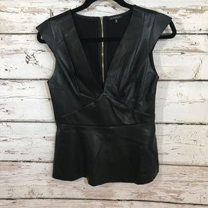 Dynamite Black Faux Leather Fitted Top.